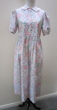 Laura Ashley Vintage Floral Dress 12 Pink Cottage Rose Lace Tea Garden Party 80s