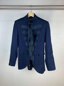 Moloh Navy Blue 'Tramp' Wool Tailored Ribbon Detail Long Line Coat UK S