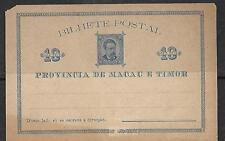 MACAU  EAST TIMOR  POSTAL STATIONERY CARD c1895
