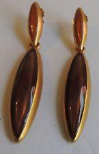 "Estate Beautiful Amber Long Drop Dangle Pierced Earrings 3"""