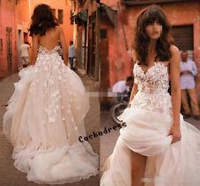 3D Floral Sweetheart Blush Beach Wedding Dress Bridal Gown Custom Size 6 8 10 +