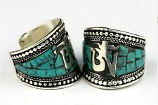 Wide Adjustable Tibetan Natural Turquoise Inlay Carved Mantra OM Amulet Ring