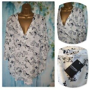 NEW LADIES GEORGE SHIRT SIZE 18, Gorgeous White Floral Butterfly Blouse Top