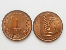 Coin - 1 pc. Singapore Brunei 1967-1982  Fountain 1 cent used coin (#91)