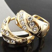 EARRINGS HUGGIE HOOP GENUINE REAL 18K YELLOW G/F GOLD SOLID DIAMOND SIMULATED