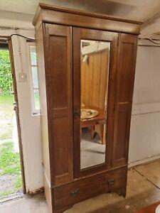 Edwardian Solid Oak Single Wardrobe