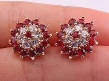 18K Gold Filled- SunFlower Ruby Garnet Topaz Zircon Party Stud Gemstone Earrings