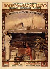 Rotterdamsche Lloyd Egypte Ceylan sumatra Java vapeur navigation affiches a3 308