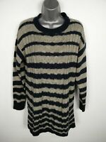 WOMENS PULL & BEAR NAVY/GREY STRIPED CABLE KNIT CASUAL CREW NECK JUMPER UK 8-10