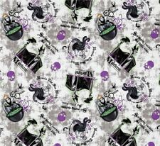 Fat Quarter Disney Villain Patch Maleficent Ursula Cotton Quilting Sewing Fabric