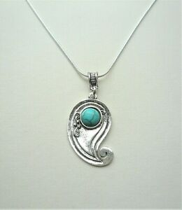 PENDANT NECKLACE Turquoise HOWLITE  Silver Plated Snake Chain KCJ3719