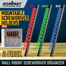 3 Piece Wrench Screwdriver Organizer Tool Rail Rack Holder Abs Wall Mount 14pair