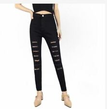 BLACK SKINNY RIPPED JEANS  SIZE 32