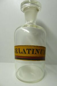 ANTIQUE GLASS CHEMIST BOTTLE APOTHECARY PHARMACY LABELLED GELATINUM