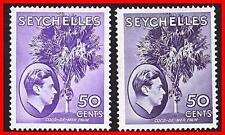 SEYCHELLES 1938/49 KGVI - PALM TREES chalk PAPER SC#141/SG#144-144b MLH (E-B5)