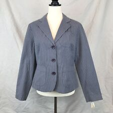Talbots Size 6 Gray & White Striped Stretch Womens 3 Button Unlined Blazzer NWT