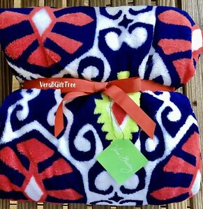 Vera Bradley Cozy PLUSH Throw Blanket SUN VALLEY BLUE Orange SUPER RARE New NWT