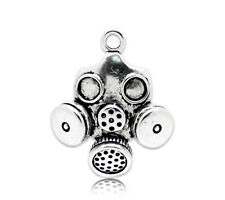 "10PCs Pop Silver Tone Gas Mask Charm Pendants 33x28mm(1-1/4""x1-1/8"")"