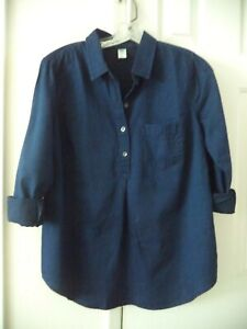 Old Navy Dark Wash Lt Wgt Denim Blue Jean Shirt Peasant Top 0 2 XS Maternity