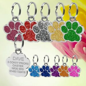 Glitter Dog ID / Cat ID Name Bling Tag Paw Personalised Puppy Pet ID Tags