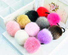 5pcs Faux Rabbit Fur Elastic Rubber Hair Band Pom Scrunchie Hair Accessories
