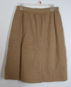 """Vtg B. Altman Co. 14 29"""" Waist Tan Brown Fuzzy Wool A-Line Skirt"""