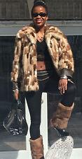 Designer leather, white sable brown multicolor Mink Fur Coat Jacket Stroller S-M