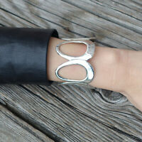 Taxco Mexican Sterling Silver Wide Cut Out Cuff Bracelet