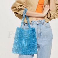 Womens Blue Beaded Bag Weave Crystal Handbag Tote Evening Vintage Clutch Bag S/L