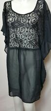 XHILARATION Women's Black Tunic lace Woven Empire waist Blouson MEDIUM(#d3)