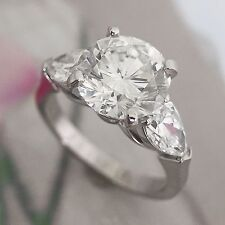 Big Round Diamond / Wedding Engagement Ring - 2.2 Carats 3 Stone Ring