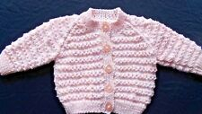 Hand Knitted Baby Cardigan in Variegated Pink.  0-3 Months.