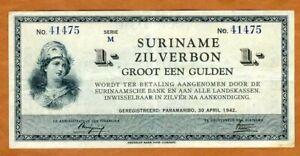 Suriname / Surinam, 1 Gulden, 1942, P-105c VF