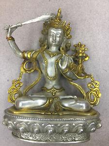 1040g Tibetan Silver W/Gold-Plating Hand Made *Manjusri Bodhisattva* Statue