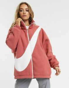Nike NSW Swoosh Sherpa Reversible Jacket CZ4063 897 Peach Pink New Womens Size S