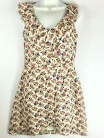 NWT Pink Owl Womens Floral Roses Summer Sleeveless Ruffle Front Dress Size Small