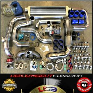 92-00 Civic EG EK/EJ DelSol Sohc D15 D16 Bolt-On Turbo Kit T3/T4 KEEP AC PW BLUE