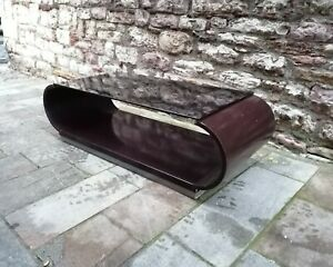 VINTAGE Willy Rizzo Sabot curved wood Coffee Table italy 1970s