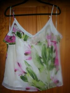 FENN WRIGHT MASON STRAPPY CAMISOLE LINED PINK GREEN WHITE FLORAL SIZE 16 V NECK