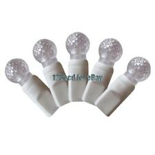 G12 Warm White LED Lights with White wire - Christmas Lights