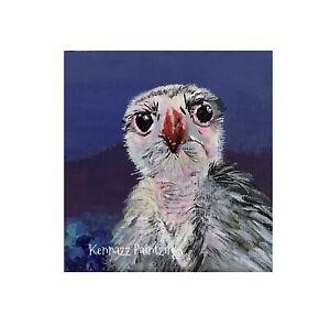 Original Painting Eurasian Black Vulture Bird Acrylic Unframed Art Decor
