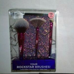 IT Cosmetics 3 Piece Brush Set with Glitter Clutch Rockstar Ulta - New in Box