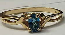 10k Yellow Gold Cute Blue Topaz Oval Solitaire Size 6 Ring Open Work Estate 1.6g