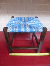 VINTAGE/RETRO STRING FOOT STOOL, CHILD's SEAT,WOODEN,blue & whie