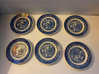 VTG Blue Willow Ware USA by Royal China Set Of 6 Bread, Dessert Plates 6.4""
