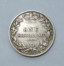 More details for 1887 silver shilling coin queen victoria (1837-01) (young head) 4th head