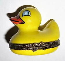 LIMOGES BOX - YELLOW RUBBER DUCKIE - DUCKY - BAR OF SOAP & BUBBLES - BATH TOYS