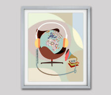 Art Print Gramophone Musical Vintage Globe Headphone Pop Painting Poster Home
