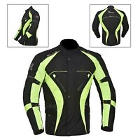 Green/Black Men's Motorcycle Motorbike Jacket Waterproof Textile CE Armoured