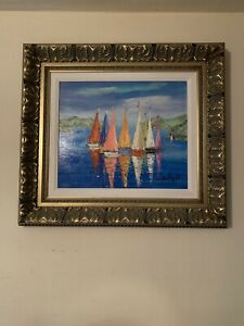 """Duaiv """"couleur des Coques"""" Giclee In Color Hand-embellished signed Sailboats"""